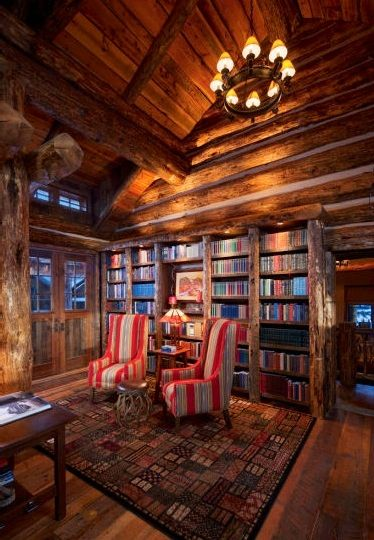 Library in Montana Luxury Log Home....