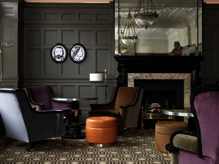 Crushing on India Mahdavi: Dark olive gray walls and a striking mirror at the Coburg bar | Scotch and Nonsense