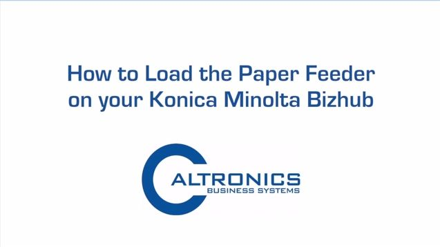 Step by step instructions on how to load the paper feeder on your Konica Minolta Bizhub