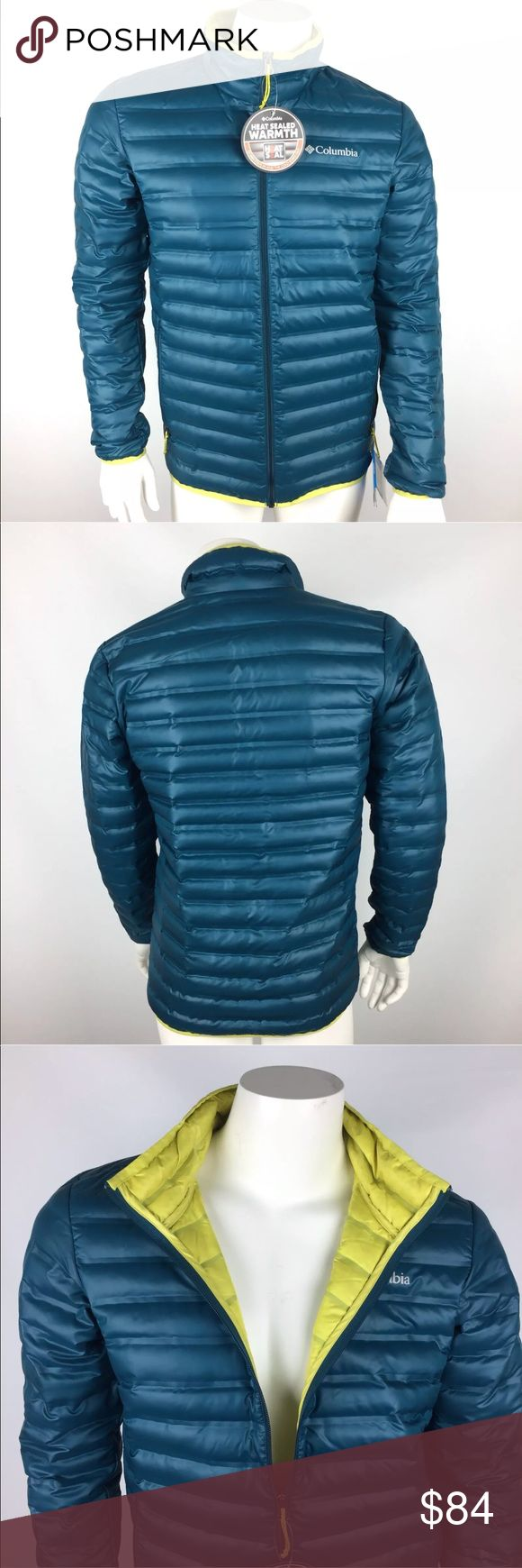 Columbia Flash Forward Me s Down Jacket Small Columbia Flash Forward Down Jacket Men's Size: Small 650 Fill Down Water Resistant Blue/Green Color with Yellow Inner color Heat Seal Columbia Jackets & Coats Puffers
