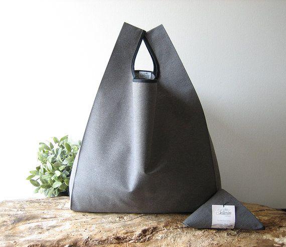 men tote bag made with gray cotton / capacious shopping bag /