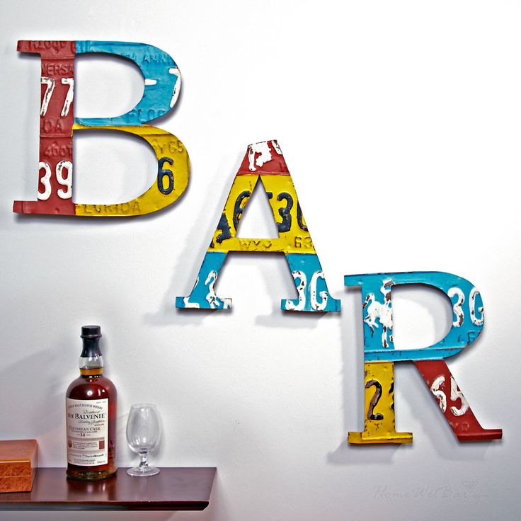 Alphabet B A R Metal Bar Letters Add Splash Of Color To Your Modern Home With