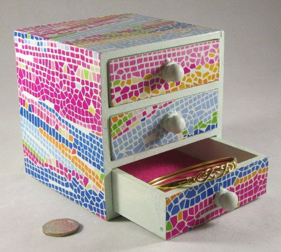 Learn more about >> Mosaic Jewelry Field, Funky Mosaic Drawers, Multicoloured Jewellery Field, Vibrant Picket Drawers, Storage Drawers, Decoupage Field