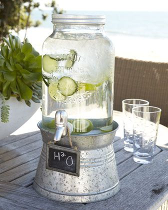 """""""Oasis"""" Beverage Server with Galvanized Stand: Industrial chic with a hint of nostalgia. #Beverage_Server #Party"""
