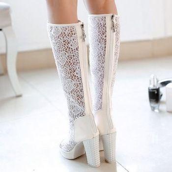 Новое вырезать 2015 большой размер 33-40 летние сапоги с открытым носком толстые каблуки сапоги заклепки платформы ну вечеринку сапоги обувь 2