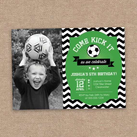 Soccer Boy Birthday Invitation, Photo, All-Star, Chevron, Green and Black, DIY Printable, All age!