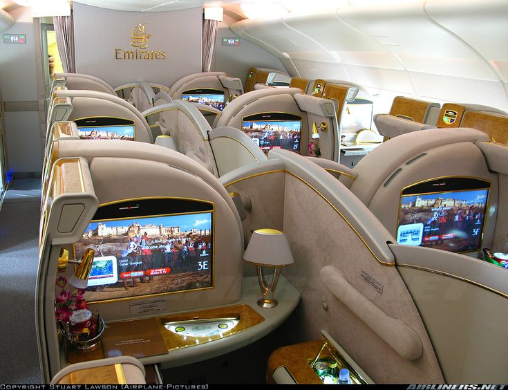 Emirates Airbus A380-861 business/first class cabin