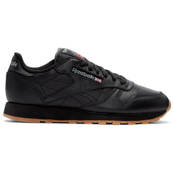 Reebok Classics Black Leather Classic Sneakers ($68) ❤ liked on Polyvore featuring men's fashion, men's shoes, men's sneakers, black, mens black sneakers, mens lace up shoes, mens perforated shoes, mens black leather sneakers and mens black leather shoes
