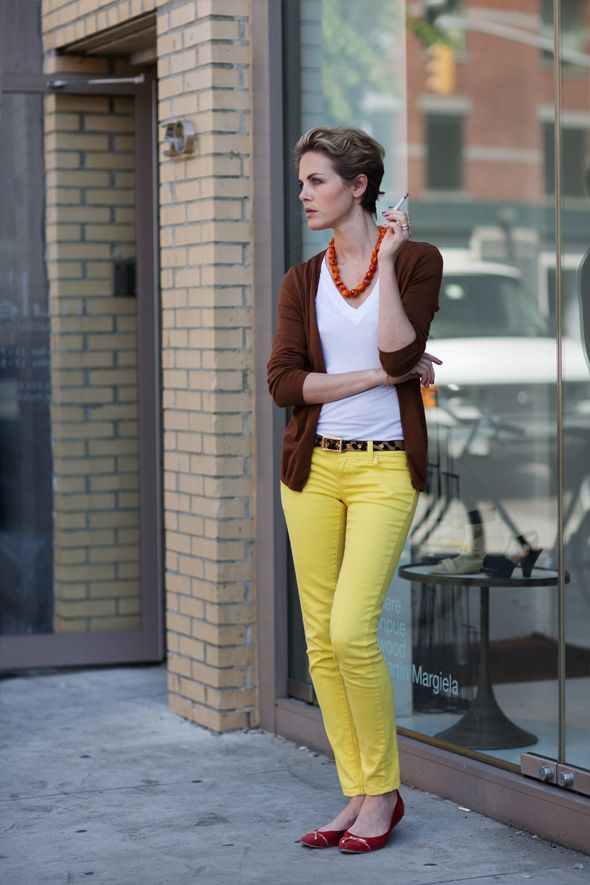 I like this minus the cigarette: Colors Pants, Colors Combos, Yellow Jeans, Colors Jeans, Yellow Pants, New York, The Sartorialist, Colors Combination, Bright Pants
