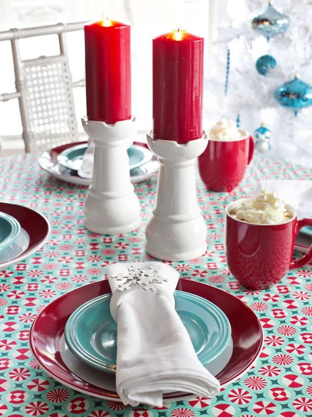 Robin's-Egg Blue + Red + White  Midcentury modernists can add vintage flair this holiday season with a color scheme of robin's-egg blue, red and white. In the 1950s, decorators paired robin's-egg blue with olive green and/or red-orange. By pairing the hue with red and white, the beloved color takes on an entirely new identity as a contemporary holiday classic. - from @HGTV