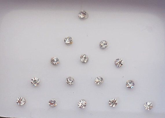 8 Pack-160 White Swarovski Crystal fake nose stud,Small size Bindi,Forehead tikka,Nail art decoration,Body art,Belly dance,Indian Face jewel by BindiClub on Etsy https://www.etsy.com/listing/241860467/8-pack-160-white-swarovski-crystal-fake