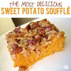 Food and Drink. Our Sweet Potato Souffle recipe is so good you can eat it for dinner and dessert!  howdoesshe.com