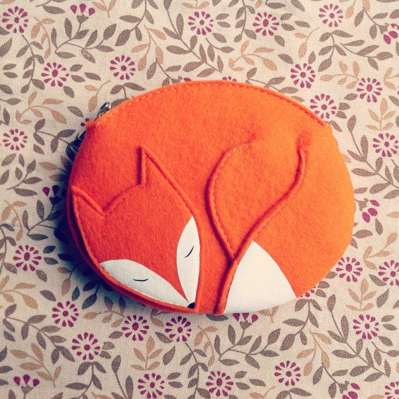 Cute Handmade Zipper Pouch shaped as little sleeping fox Warm and cute gift for a child or friend. Made of natural top quality thick felt.