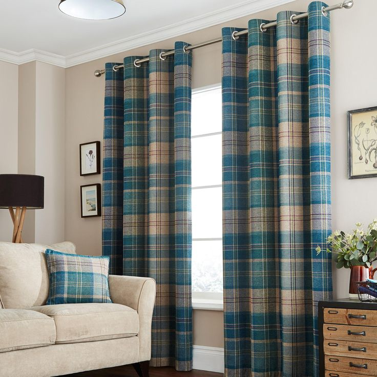 Hamish Teal Lined Eyelet Curtains | Dunelm