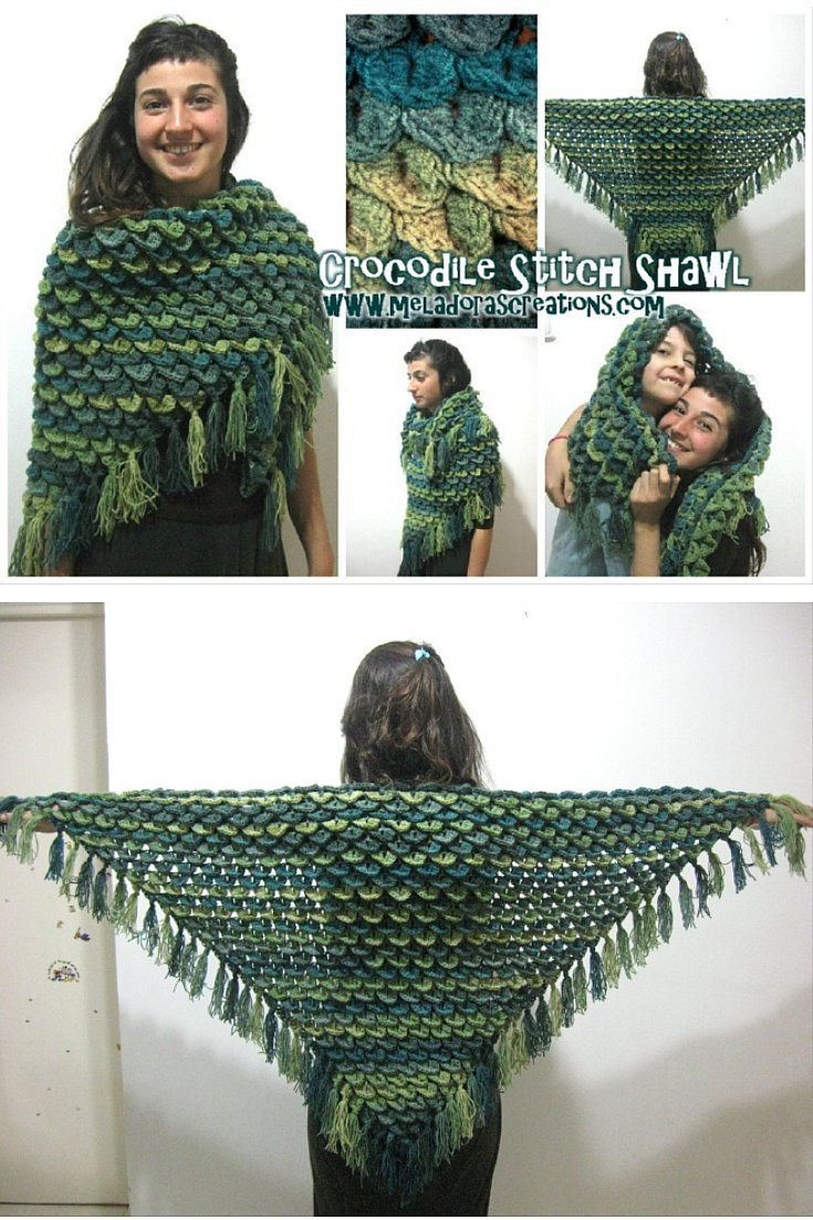 Crocodile Stitch Shawl REVISED videos and pattern - by Meladora's Creations