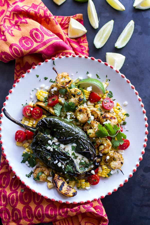 Grilled Chiles Rellenos with Chipotle Peach Mojo Shrimp | halfbakedharvest.com
