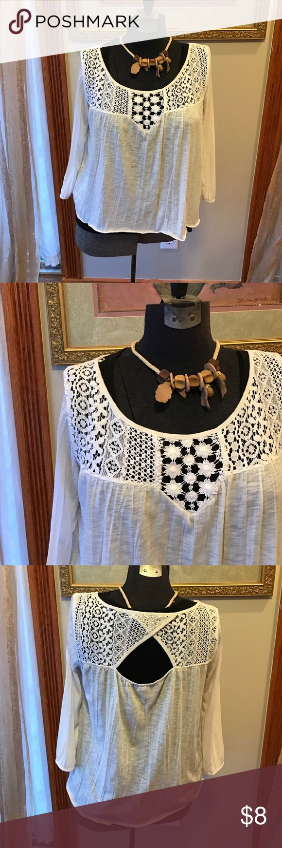 AMERICAN EAGLE SHIRT Flawless cream colored flow he BoHo style in American Eagle shirt with lace details in a cut out back American Eagle Outfitters Tops Blouses