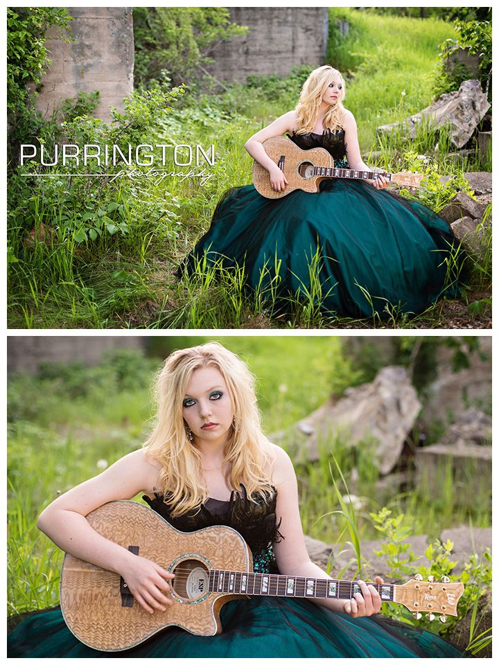 Girl in green dress with guitar