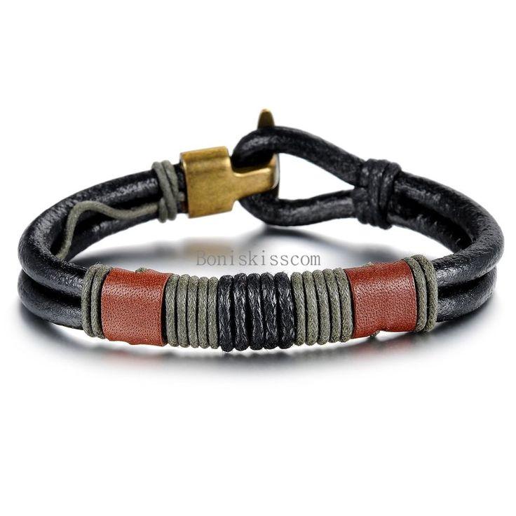 Schmuck Fashion Mehrschichtige geflochtene Hanfseil Leder Armband Armreif Herren