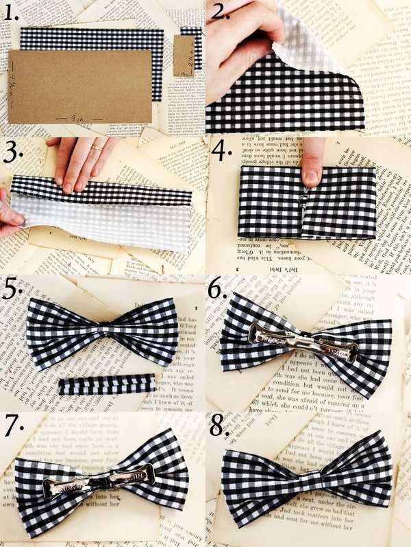 DIY bow tie. Could put it on a hair clip and make a cute hair bow!