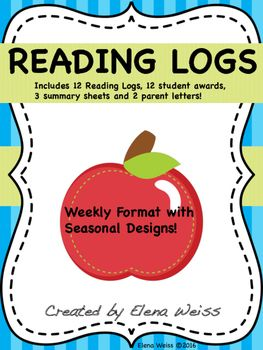 https://www.teacherspayteachers.com/Store/Elena-Weiss This set includes everything you need to get started with weekly reading logs in your classroom. Daily reading is so important for our students and tracking their progress is essential. These logs, awards, summary sheets and parent letters will help you get started with incorporating reading logs into your program, without having to spend an enormous amount of time doing it! Created by Elena Weiss