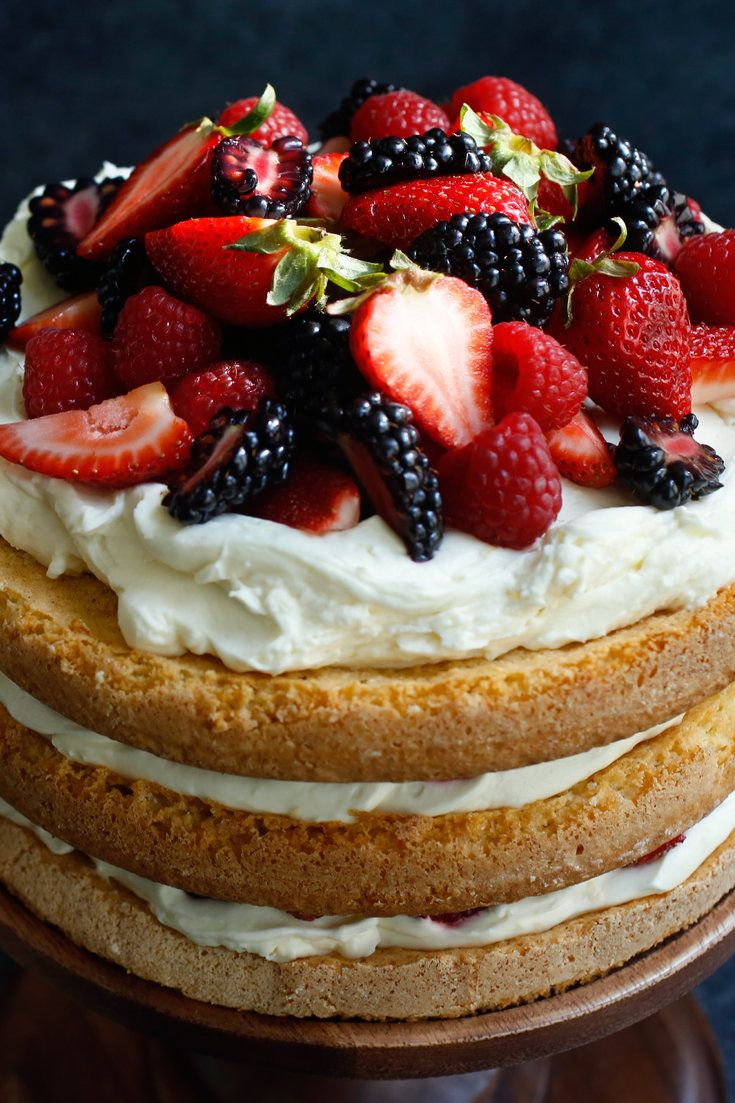 Behold! An ode to summer in cake form. In this towering dessert from the food stylist and cookbook author Susan Spungen, crackly yet tender layers of almond cake are layered with mounds of fresh berries and a rich filling of mascarpone and crème fraîche. (Photo: Craig Lee for The New York Times)