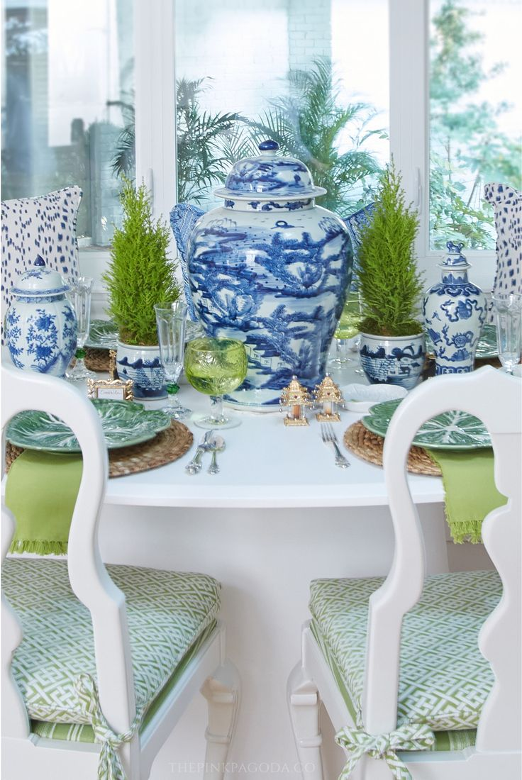 Lots of blue and white, plus lemon cypress topiaries for the table styling in The Pink Pagoda's One Room Challenge™.
