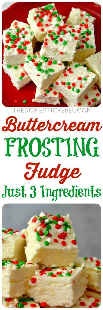 This 3-Ingredient Buttercream Frosting Fudge is AWESOME! Smooth, creamy, melt-in-your-mouth DELICIOUS and tastes JUST like homemade buttercream icing! Super easy and makes great gifts!
