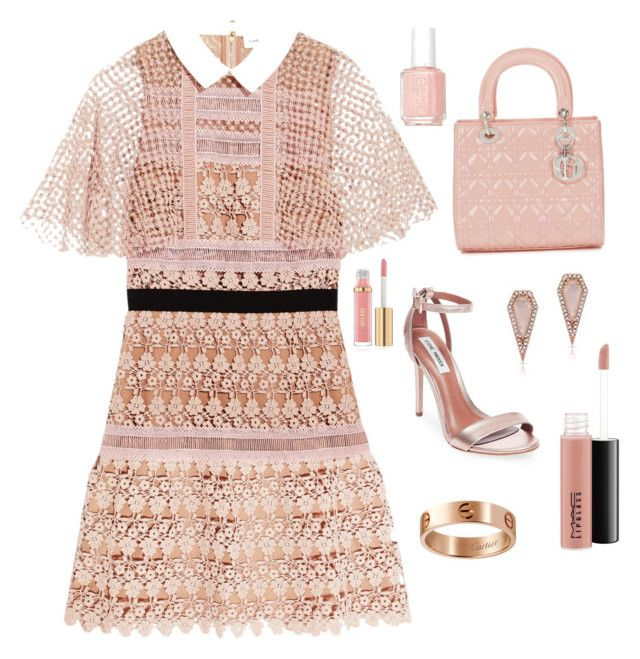 """""""Untitled #21"""" by sofiabaaima ❤ liked on Polyvore featuring self-portrait, Steve Madden, Christian Dior, MAC Cosmetics, Cartier, Anne Sisteron and Essie"""