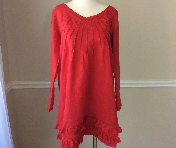 New to CustomLinensHandmade on Etsy: Red tunic dress with 2 rows of ruffles red tunic red top  trendy plus size linen clothing plus size womens clothing ready to ship (137.00 USD)