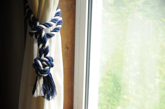 Nautique Rideau embrasses - marine et blanc - décor nautique - embrasses de rideaux - (c'est pour une paire)