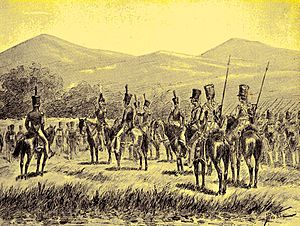 Dutch cavalry of the colonial expeditionary forces in the East Indies probably in the 1830s or 1840s.