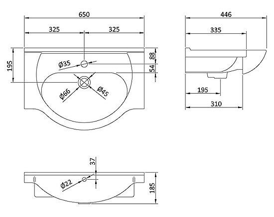 Alaska 650mm Semi Recessed Basin At Victorian Plumbing.co.uk