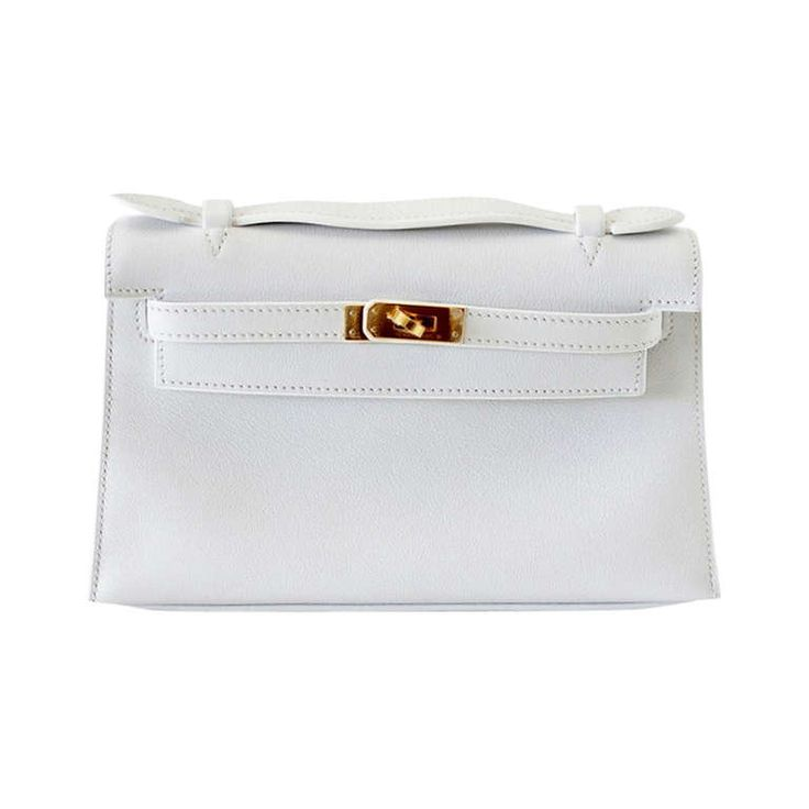 HERMES Kelly Pochette clutch bag rare WHITE gold hardware | Hermes ...