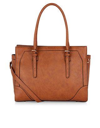 Metal Tab Shoulder Bag | Brown | Accessorize