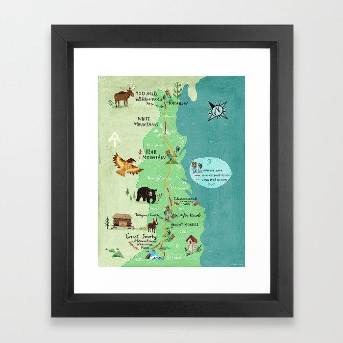 Appalachian Trail Hiking Map Framed Art Print By Chengel Appalachian Trail Hiking Map Framed Art P In 2020 Hiking Map Appalachian Trail Map Appalachian Trail Hiking