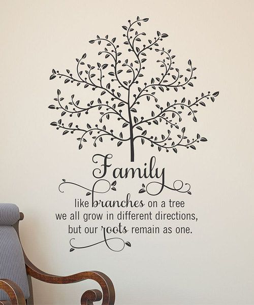Write whimsy and wisdom on the walls with this beautiful family tree wall decal. The easy-to-apply letters come pre-spaced and are made from high-quality vinyl, adding a crisp accent of personality to the home with little effort. Includes decal, instructions and application tool22.5'' W x 31'' H100% vinylMade in the USA