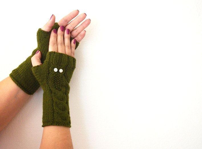 Owl Arm Green Gloves, Hand Knit Mittens, Fingerless Gloves, Woman Arm Warmers