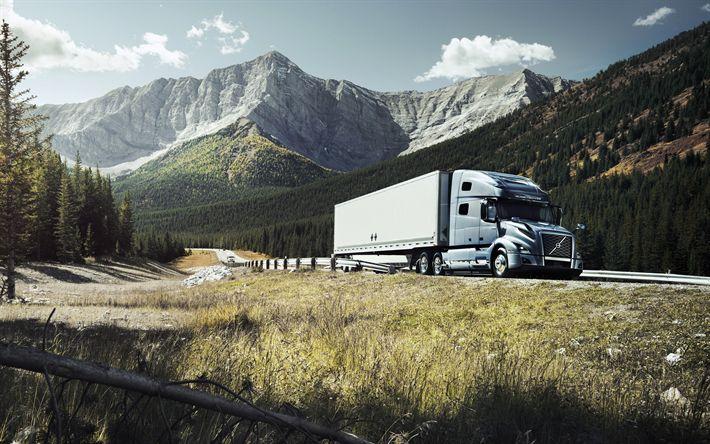 Descargar fondos de pantalla Volvo VNL760 de 2017, los camiones nuevos, camiones, VNL, la entrega de la carga, las montañas, el sueco de camiones, Volvo
