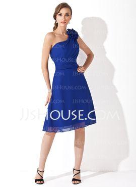 Ligne-A/Princesse Une epaule Mi-longues Mousseline Robe de Demoiselle d'Honneur avec Ondulé (007021111)