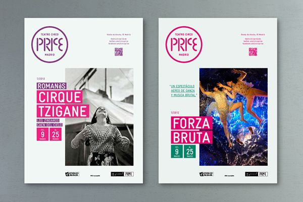 New corporate identity for Teatro Circo Price in Madrid and all communication materials.