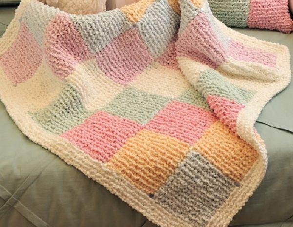 gráfico de manta de tricô para bebê colorida