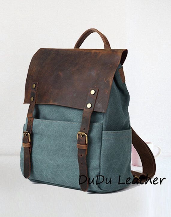 Grey Genuine Cow Leather Canvas Backpack Leather by DuDuLeather