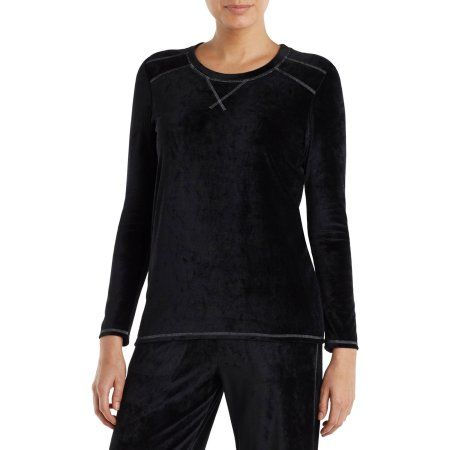 Climate Right by Cuddl Duds Women's Pajama Velour Sleep Top, Size: Small, Black