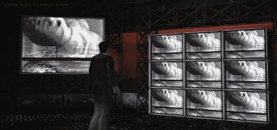 Silent Hill Town Center. Cheryl appears on TV screens and cries for help.    Silent Hill (1999) PSX - Horror Games