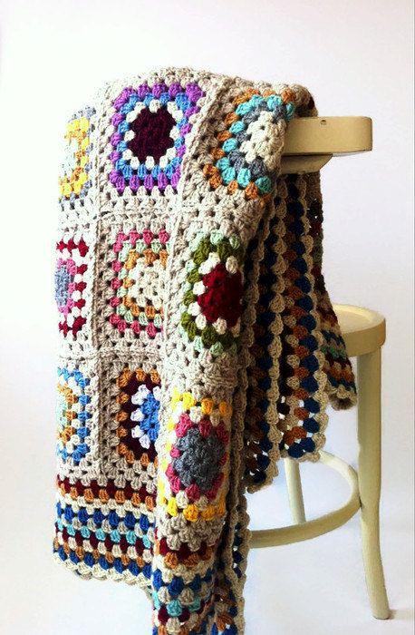 Colorful Afghan Blanket Throw Home Decor by allapples on Etsy #crochet #grannysquare #blanket