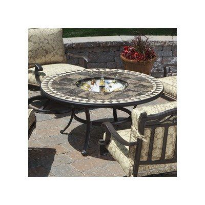 Assisi Beverage Chat Dining Set with Firepit by Alfresco Home. $1513.00. 21-64818 Features: -Table. Color/Finish: -Frame made from top quality wrought iron with durable powder coat finish.-Hand set and grouted mosaic table tops finished and sealed for long lasting appearance and durability. Dimensions: -Dimensions: 23'' H x 48'' W x 48'' D.
