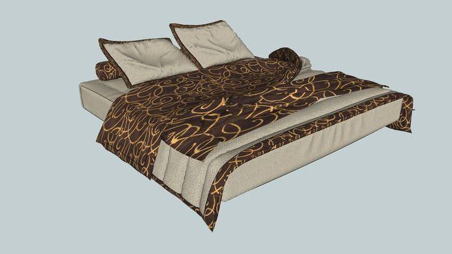 Large preview of 3D Model of bedroom, bed, bed furniture, interior, kamar tidur, kasur, tempat tidur, pillow, animasi