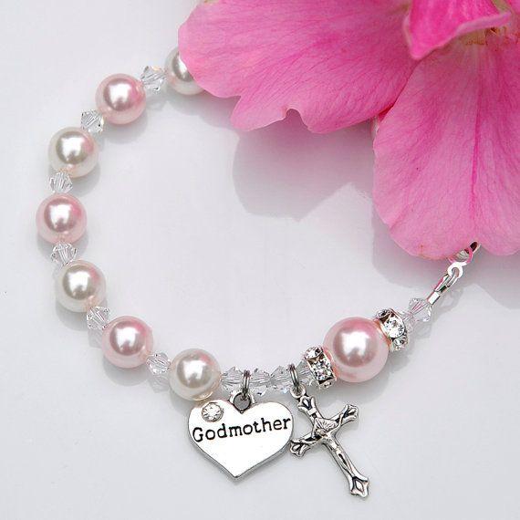 Will You Be My Godmother - Rosary Bracelet Pink White - Godmother Godparent Gift Idea - Swarovski Crystal Pearl - Catholic Baby Girl Baptism