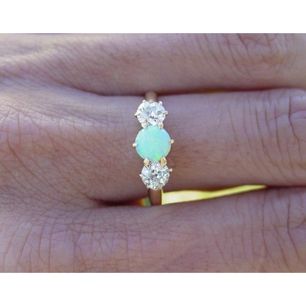 Vintage antique Opal european diamond engagement ring. Gorgeous.